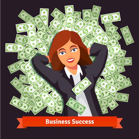 cash: Mujer de negocios en la suite acostado en una cama pila de dinero en efectivo de dólar verde. Concepto del éxito y la riqueza. Ilustración vectorial de estilo plano aislado en fondo negro. Vectores