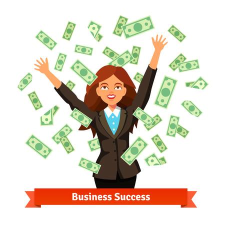 efectivo: Mujer tirar el dinero efectivo dólar verde en el aire o de pie bajo la lluvia de billetes. Ilustración vectorial de estilo plano aislado en fondo blanco.