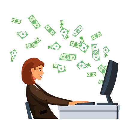 dollar icon: Young businesswoman sitting in front of desktop computer screen with flying out cash dollar money banknotes at the office desk. Flat style vector illustration isolated on white background. Illustration