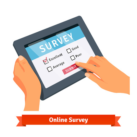 survey: Online survey on a tablet. Flat style vector illustration isolated on white background.