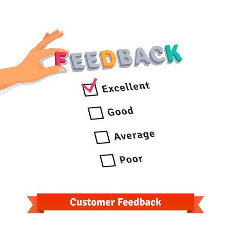 customer feedback: Customer service feedback survey icon. Flat style vector illustration isolated on white background.