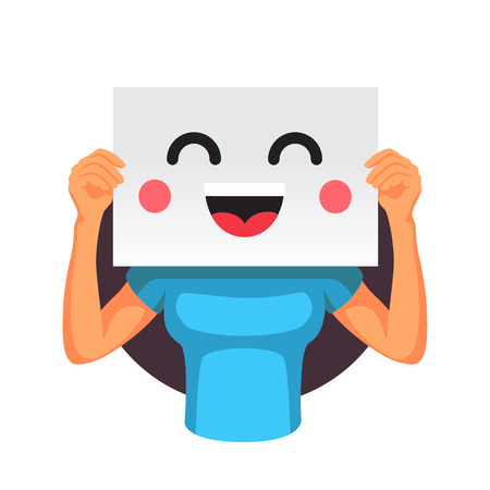 holding sign: Woman holding a happy smiling face emoticon with two hands in front of her head. Flat style vector illustration isolated on white background. Illustration