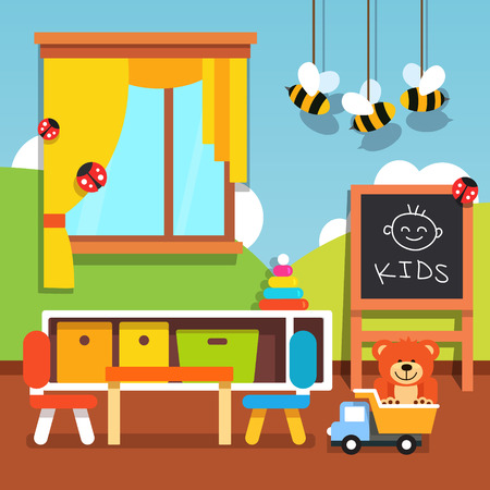nursery school: Preschool kindergarten classroom with desk, chairs, chalkboard and toys. Flat style cartoon vector illustration with isolated objects.