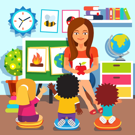 Kindergarten teacher woman teaching kids new words with picture cards. Children studying in classroom. Flat style cartoon vector illustration with isolated objects.