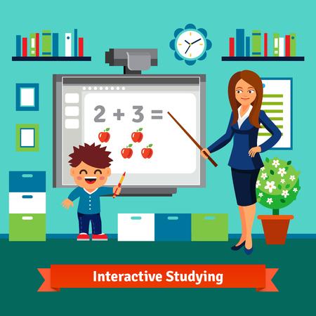 maestro: Kindergarten mujer del profesor de la ense�anza chico matem�ticas elementales con una pizarra interactiva. Tutor privado estudiar. Estilo de dibujos animados ilustraci�n vectorial plano con objetos aislados.