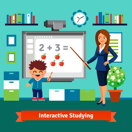 teacher classroom: Kindergarten teacher woman teaching boy elementary mathematics with an interactive board. Private tutor studying. Flat style cartoon vector illustration with isolated objects.
