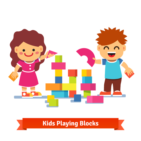 Kids, boy and girl building tower with colorful wooden blocks. Flat style cartoon vector illustration isolated on white background.