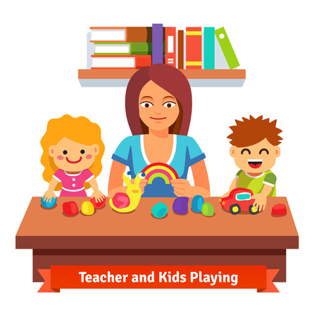 teacher classroom: Kindergarten teacher making plasticine figures with kids. Preschool learning and education. Flat style cartoon vector illustration isolated on white background.