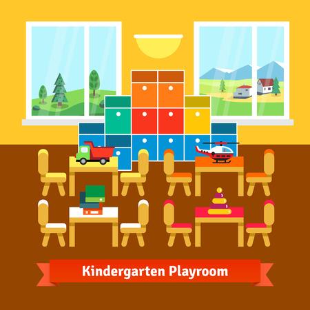 kinder: Kindergarten aula sala de juegos con mesas pequeñas, sillas, estanterías y juguetes. Estilo de dibujos animados ilustración vectorial plano con objetos aislados. Vectores