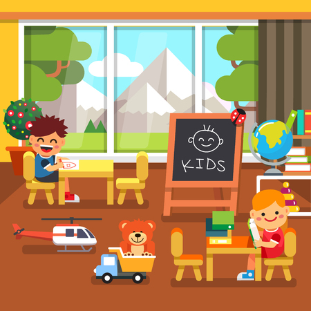 play boy: Modern kindergarten playroom with great mountains view in the window. Kids sitting and playing in the classroom. Flat style cartoon vector illustration with isolated objects.