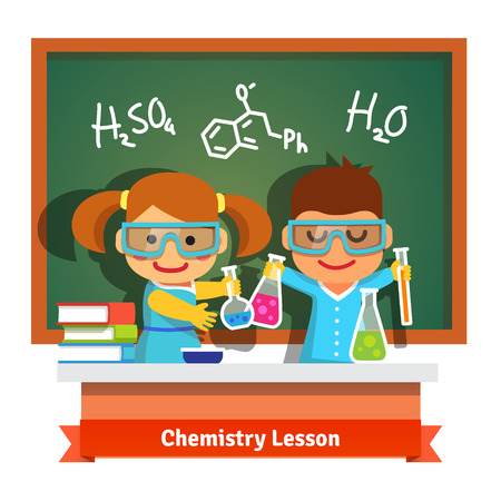 preschool classroom: Kids having fun at chemistry lesson making experiment at the desk and chalkboard with formulas. Flat style cartoon vector illustration isolated on white background.