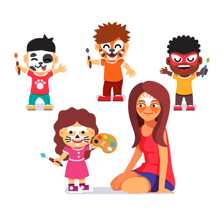 mujeres y niños: Cara partido pintura. Los niños con cepillos que juegan con personajes de maestros y el dibujo. Pintar no más. Estilo plano ilustración vectorial de dibujos animados aislado en el fondo blanco.