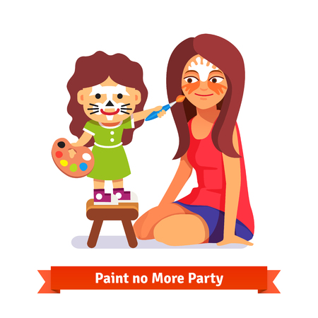 Face painting party. Girl painting her teachers face. Flat style cartoon vector illustration isolated on white background.