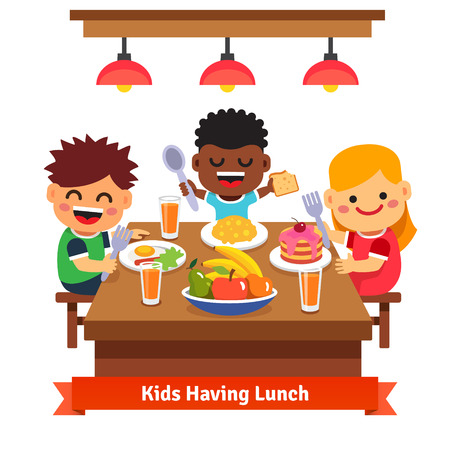 Children having dinner at the kindergarten of home. Kids eating and smiling. Flat style cartoon vector illustration isolated on white background. Çizim