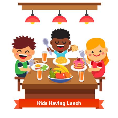 cadeira: Crianças que têm o jantar no jardim de infância da casa. Crianças que comem e sorridente. Estilo simples ilustração dos desenhos animados do vetor isolado no fundo branco.