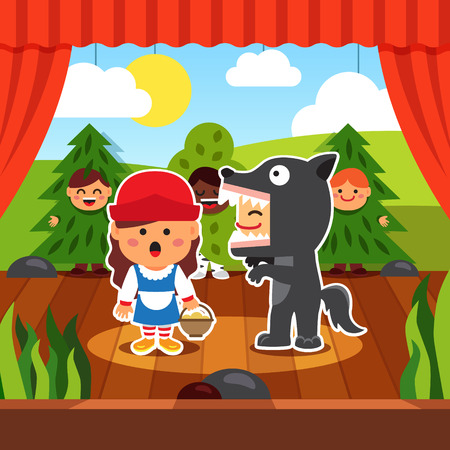 stage costume: Kindergarten theatre play. Kids staging Little Red Riding Hood in costumes. Wolf and Red Hood on the boards accompanied by boy trees. Flat style cartoon vector illustration with isolated objects.
