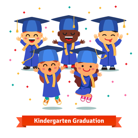 Kindergarten graduation party. Kids in mortar boards and gowns jumping and having fun. Flat style cartoon vector illustration isolated on white background.