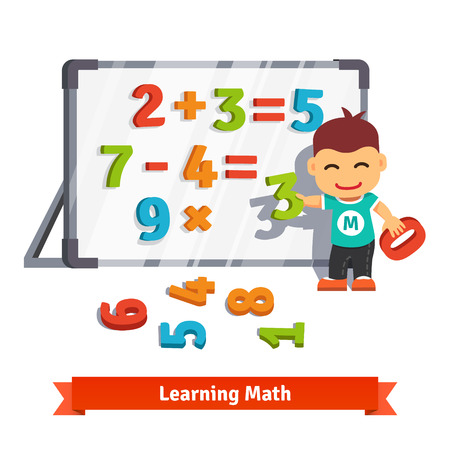 preschool classroom: Boy learns math doing addition, subtraction and multiplication with plastic numbers on a magnet board. Flat style cartoon vector illustration isolated on white background.