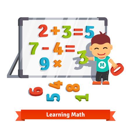 El muchacho aprende matemáticas haciendo sumas, restas y multiplicaciones con números de plástico en una tabla de imán. Estilo plano ilustración vectorial de dibujos animados aislado en el fondo blanco.