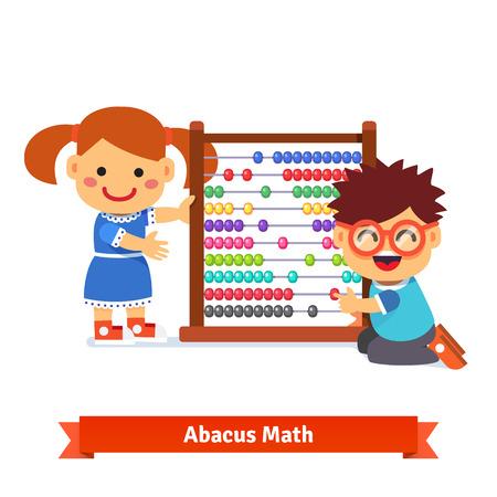 matematica: Los niños están aprendiendo matemáticas con gran jardín de infantes ábaco colorido de madera. Estilo plano ilustración vectorial de dibujos animados aislado en el fondo blanco.