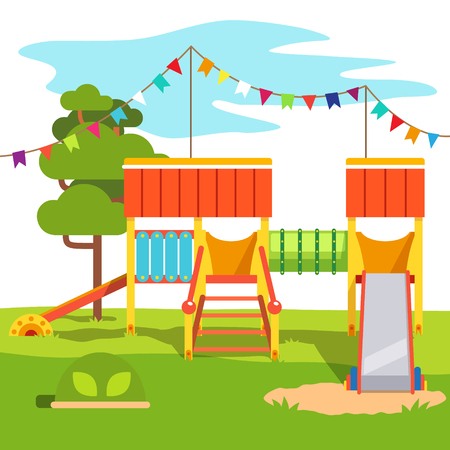 kindergarden: Kindergarten outdoor park playground slide. Flat style cartoon vector illustration with isolated objects.