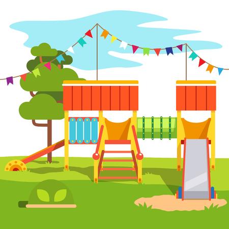 Kleuterschool buiten park speelplaats dia. Vlakke stijl cartoon vector illustratie met geïsoleerde objecten.