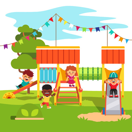 children playground: Kindergarten outdoor park playground slide with playing kids. Flat style cartoon vector illustration with isolated objects.