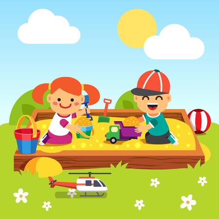 bebe sentado: Niños, niño y niña jugando en piscina de arena jardín de infantes. Estilo de dibujos animados ilustración vectorial plano con objetos aislados.