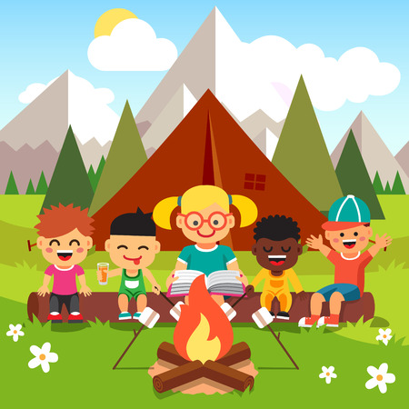 bonfire: Kindergarten kids camping in the forest near big mountains. Children sitting and listening to a teachers reading a book near the fire. Flat style cartoon vector illustration with isolated objects.