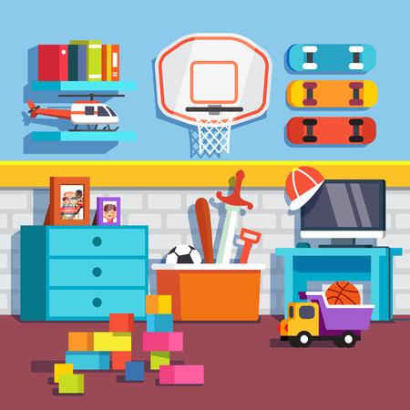 Habitación para chico con juguetes patinetas y baloncesto ring.Flat estilo de dibujos animados ilustración vectorial con objetos aislados.