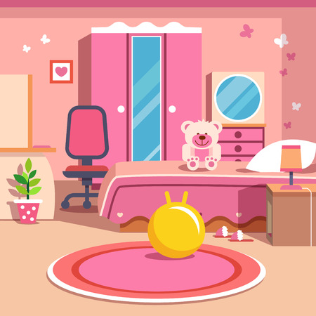 bedroom design: Girls all pink bedroom interior. Flat style cartoon vector illustration with isolated objects.