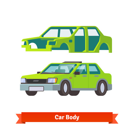 body built: Car body and sedan auto built on it. Flat style vector illustration isolated on white background.