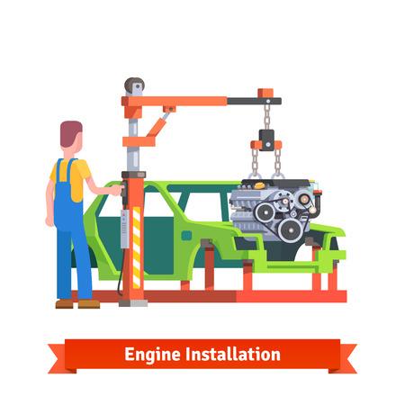 repuestos de carros: Línea de producción de coches o taller de reparación. Mecánico está instalando nuevo motor en la carrocería. Reacondicionamiento del motor. Ilustración vectorial de estilo plano aislado en fondo blanco. Vectores
