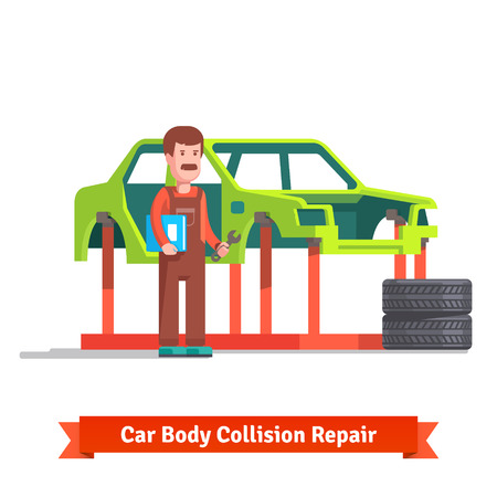 body shop: Collision repair center body shop specialist checking car body on a frame machine. Flat style vector illustration isolated on white background.
