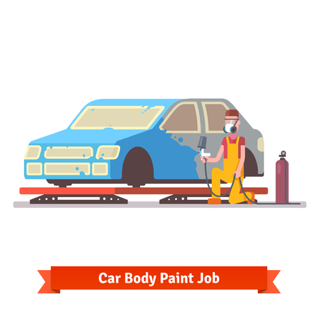 paint gun: Car body paint job. Painting specialist spraying color on sealers masked auto. Car collision repair shop.  Flat style vector illustration isolated on white background. Illustration