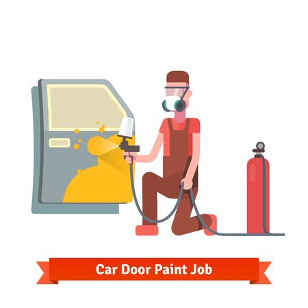 primer: Car door paint job. Specialist painting door at the car collision repair shop. Flat style vector illustration isolated on white background.