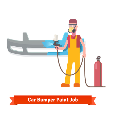 paint gun: Specialist spray painting auto bumper part at the car collision repair shop. Flat style vector illustration isolated on white background.