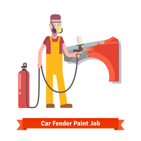 paint gun: Specialist spray painting auto fender part at the car collision repair shop. Flat style vector illustration isolated on white background. Illustration