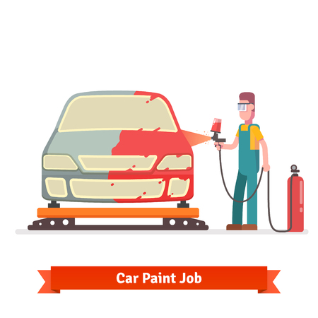 Specialist spray painting auto body at car collision repair shop. Flat style vector illustration isolated on white background. Illustration