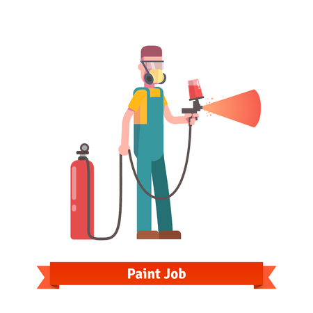 paint gun: Spray painting specialist spraying red paint from pulveriser and tank wearing mask and uniform. Flat style vector illustration isolated on white background.