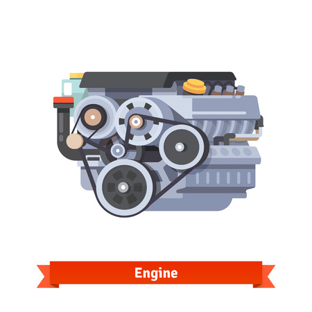 Modern car internal combustion engine. Complete overhaul repair. Flat style 3d vector illustration isolated on white background.