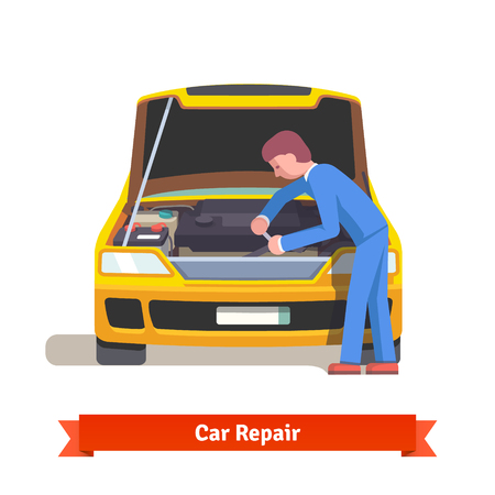 Car mechanic under the hood in uniform repairs engine at car service station. Flat style 3d vector illustration isolated on white background.