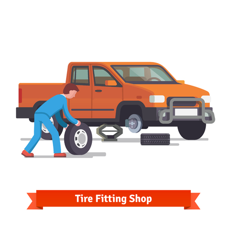 wheel change: Car mechanic rolling tire to change it on a pickup truck standing on lifting jack. Flat style 3d vector illustration isolated on white background.