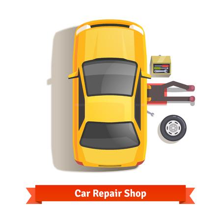 mecanico automotriz: Mecánico de coche tumbado bajo debajo de la carrocería de automóviles haciendo trabajos de reparación. Vista superior. Ilustración vectorial de estilo plano aislado en fondo blanco.