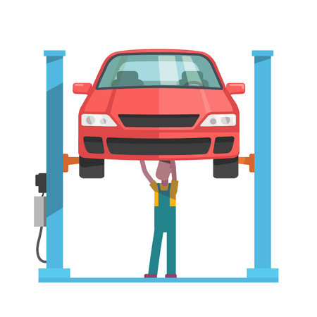 service lift: Mechanic standing under underbody and repairing a car lifted on auto hoist. Front view. Flat style vector illustration isolated on white background.