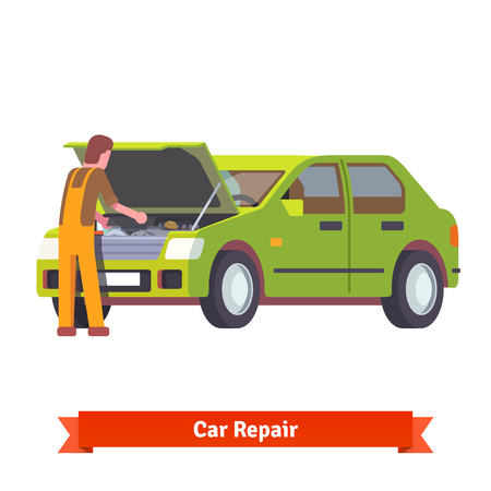 open car: Car mechanic in uniform checking engine at car service station. Flat style 3d vector illustration isolated on white background.