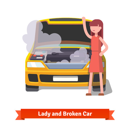 立っていると彼女の壊れた車のフードの下で見る女性は蒸気や煙で覆われています。フラット スタイル ベクトル イラスト白背景に分離されました