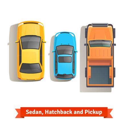 경치: 세단, 해치백 자동차와 픽업 트럭 상위 뷰. 플랫 스타일 벡터 일러스트 레이 션 흰색 배경에 고립입니다.