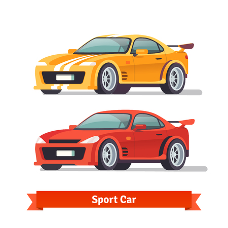 yellow car: Race sport car. Supercar tuning. Flat style vector illustration isolated on white background.