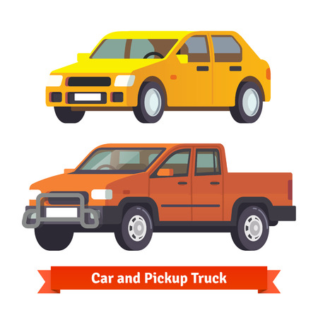 sized: Pickup truck and middle sized sedan in 3d. Flat style vector illustration isolated on white background.